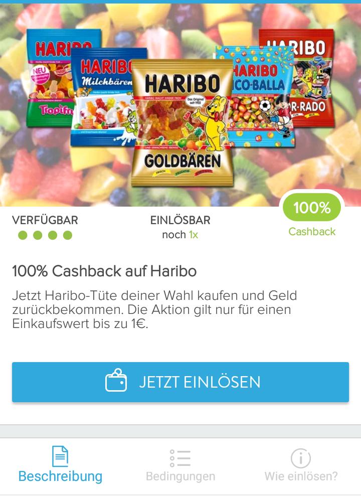 100% Cashback auf eine Tüte Haribo nach Wahl via Marktguru-App