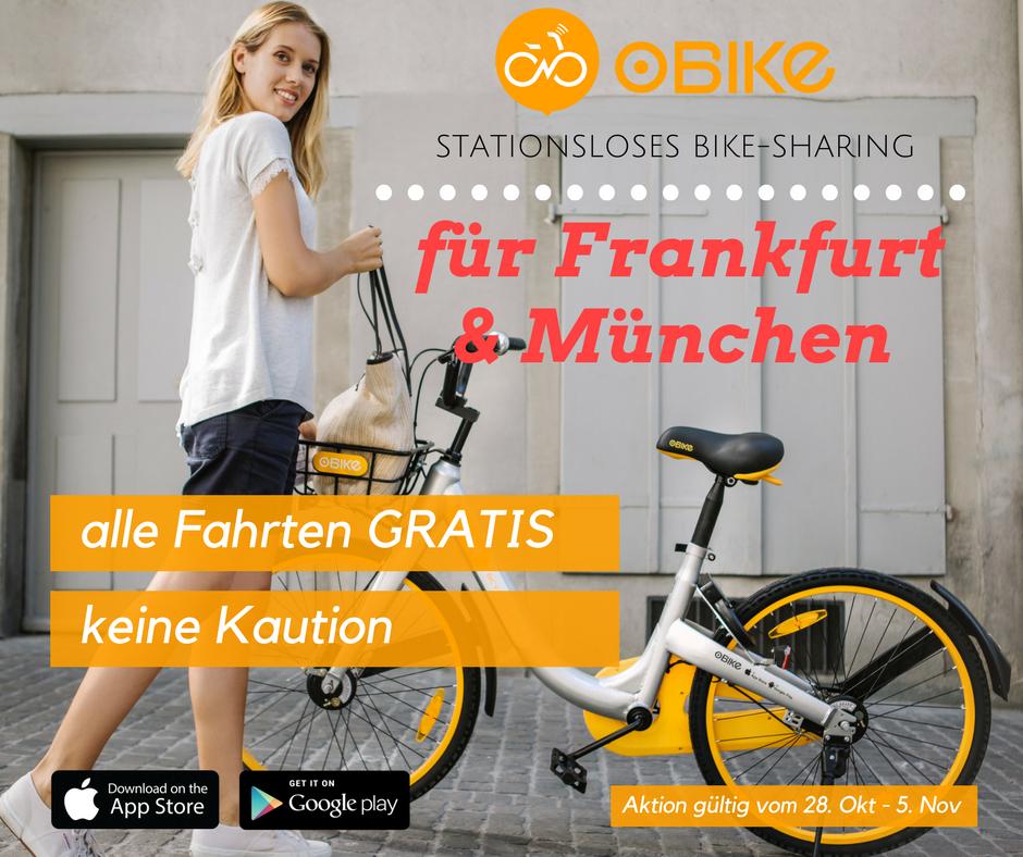 GRATIS oBike fahren in ganz Frankfurt & München