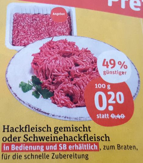 [Tegut] Hackfleisch gemischt oder Schweinehackfleisch 100g für nur 0,20€