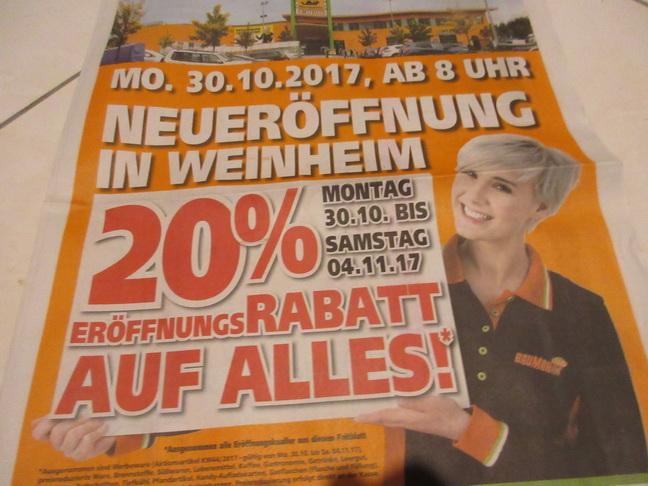Globus Baumarkt - Lokal Weinheim Neueröffnung die ganze Woche - 20% bis 04.11.17