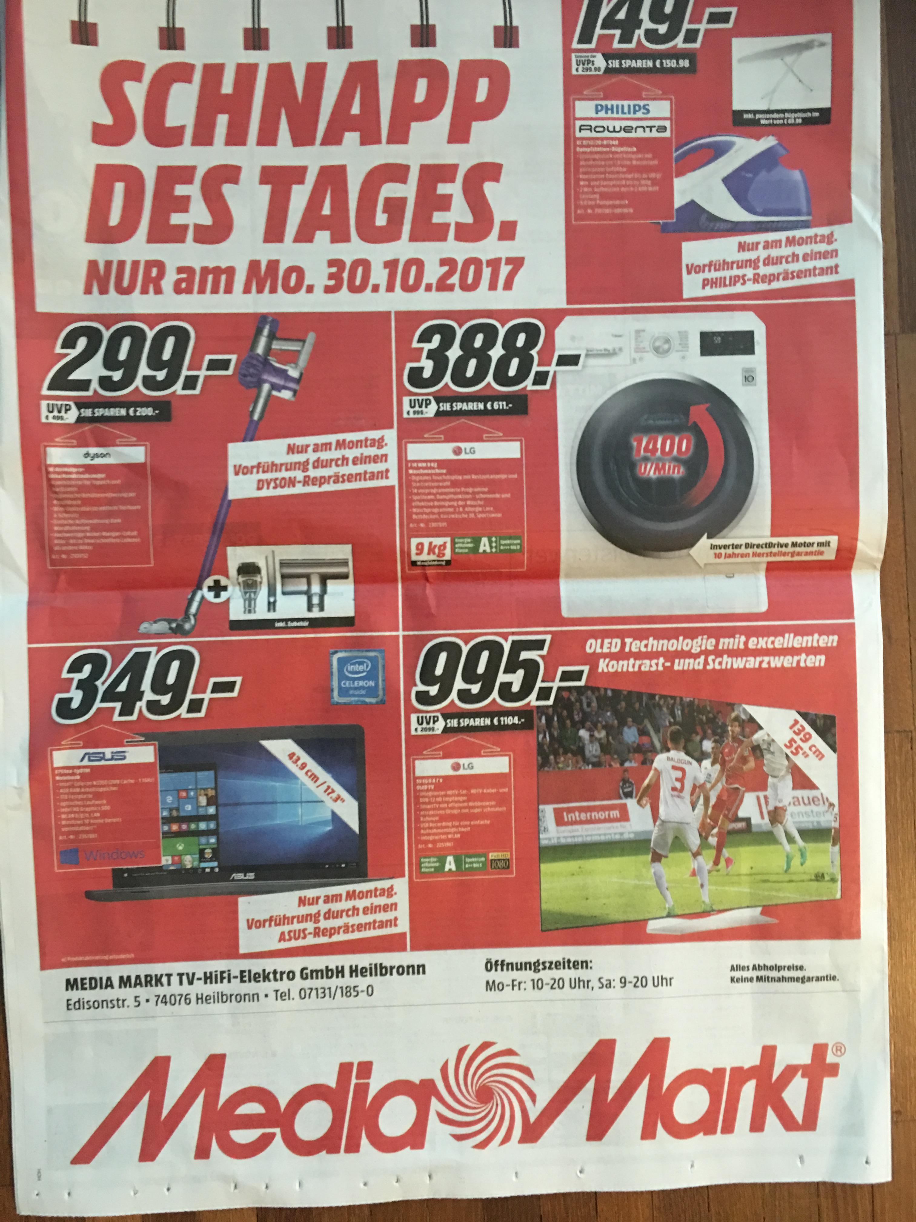 LOKAL Media Markt Heilbronn verkauft den LG 55EG9A7V für 995€ aber nur am 30.10.2017