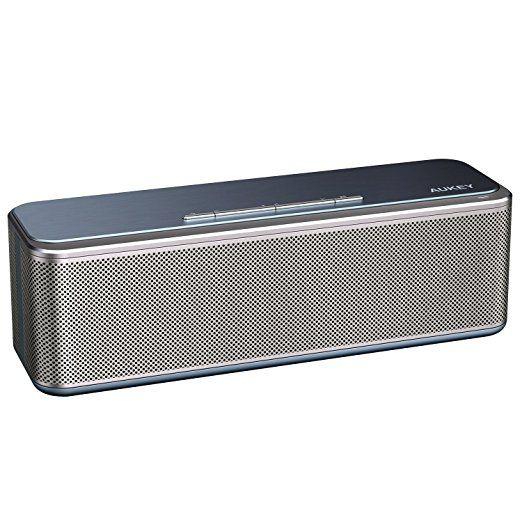 AUKEY Metall Bluetooth Lautsprecher CSR 4.0 mit DSP Chip, Dual-Treiber und Duale Bass-Radiatoren verstäkter Bass, 4000mAh-Akku, Wireless Speaker für Echo Dot, iPhone, iPad, Samsung, Android usw