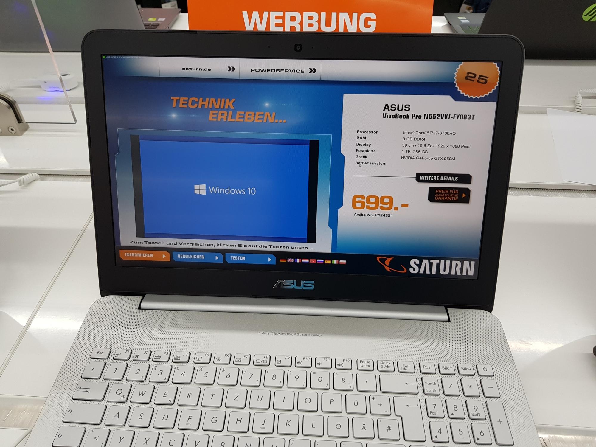 """[lokal Saturn Bremen Habenhausen] ASUS Notebook N552VW-FY083T, 15.6""""FHD matt, i7 6700HQ, 8 GB RAM, 256 GB SSD + 1 TB HDD, GTX 960M"""