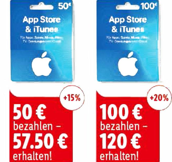Bis zu 20 %  Extra iTunes Guthaben @Lidl