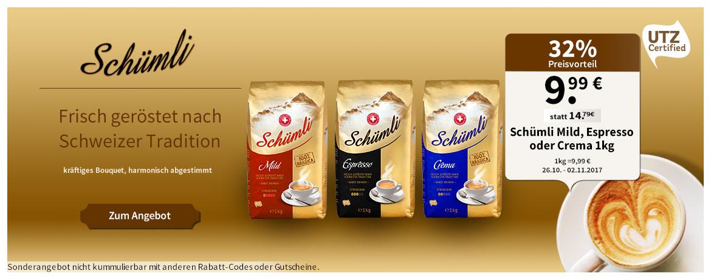 [Migros-Shop] Schümli Kaffee Mild, Crema & Espresso zu je 9,99€ das Kilo und dazu Versandkostenfrei ab 30€
