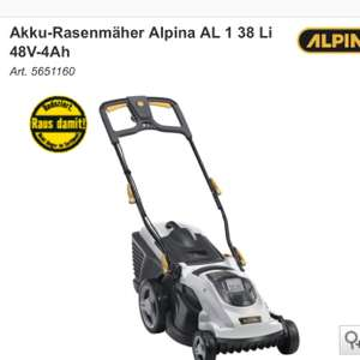 Alpina AL1 38 LI Akku Rasenmäher