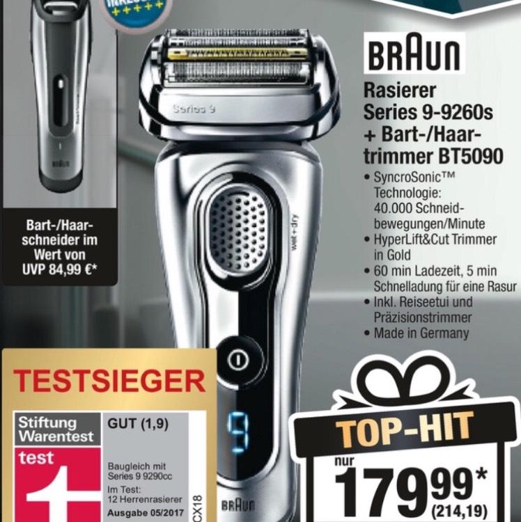 [Metro] Braun Rasierer Series 9-9260s + Haartrimmer BT-5090 im Doppelpack 16 % günstiger