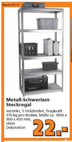 Schwerlastregal Metall im Globus-Baumarkt offline für 22,00€ 180x90x45 cm