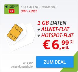 [Sparhandy] Allnet Flat ,Hotspot Flat weltweit ,1 GB Internet im D2 Netz für monatlich 6,99€