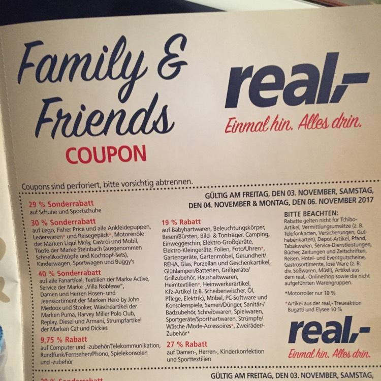 Family&Friends Aktion vom 03.-06.11. bei Real (nicht online) bis zu 40% Nachlass möglich!