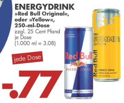 """[Jawoll] 250ml Dose Red Bull """"Original"""" oder """"Yellow"""" für 0,77€ + Pfand"""