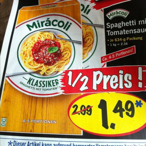 Miracoli Spaghetti mit Tomatensauce Lidl Super Samstag 11.08.12