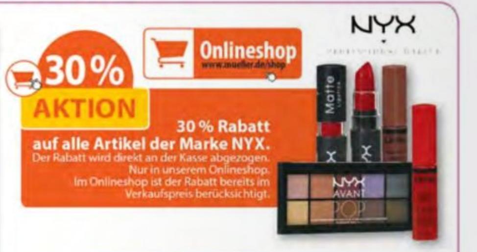 30% auf NYX  [ Müller Online-Shop ]