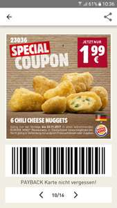 6 Chili Cheese Nuggets für 1,99€ bis 2.11. [Burger King]