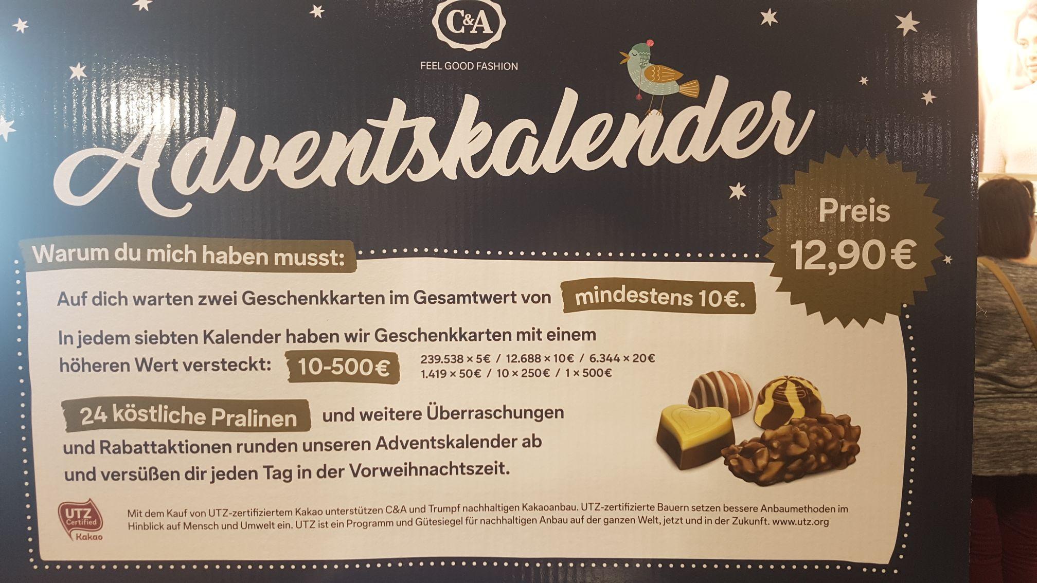 C & A Adventskalender mit Gutscheinen