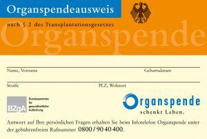 Organspendeausweis im Scheckkartenformat (Plastik)