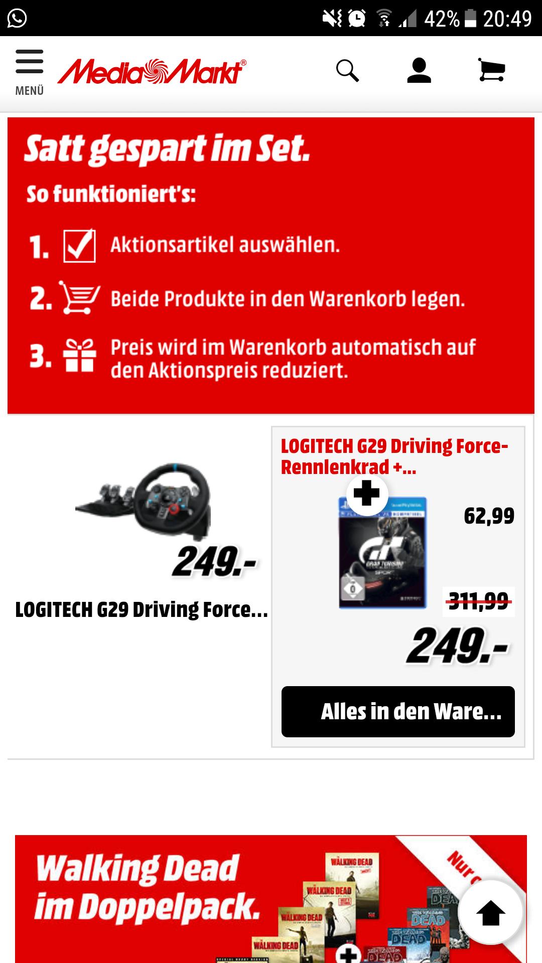 [Mediamarkt] Logitech G29 Driving Force ForceFeedback Lenkrad + Gran Turismo: Sport PS4 Bundle