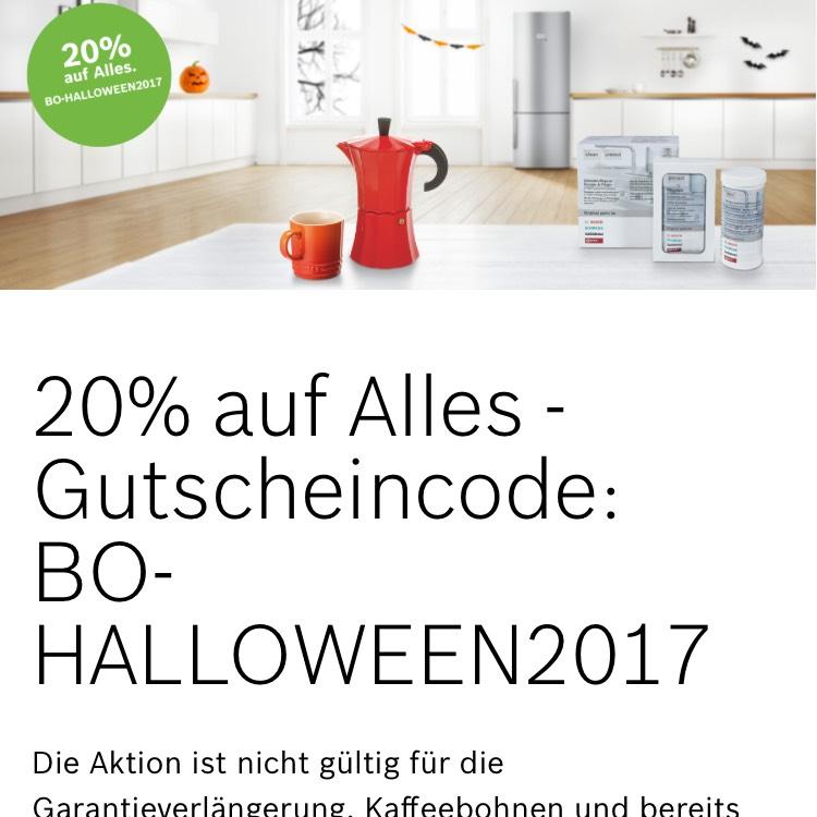 20% auf Bosch Haushaltsgeräte Online Shop z.B. SmartHome, Kohlefilter