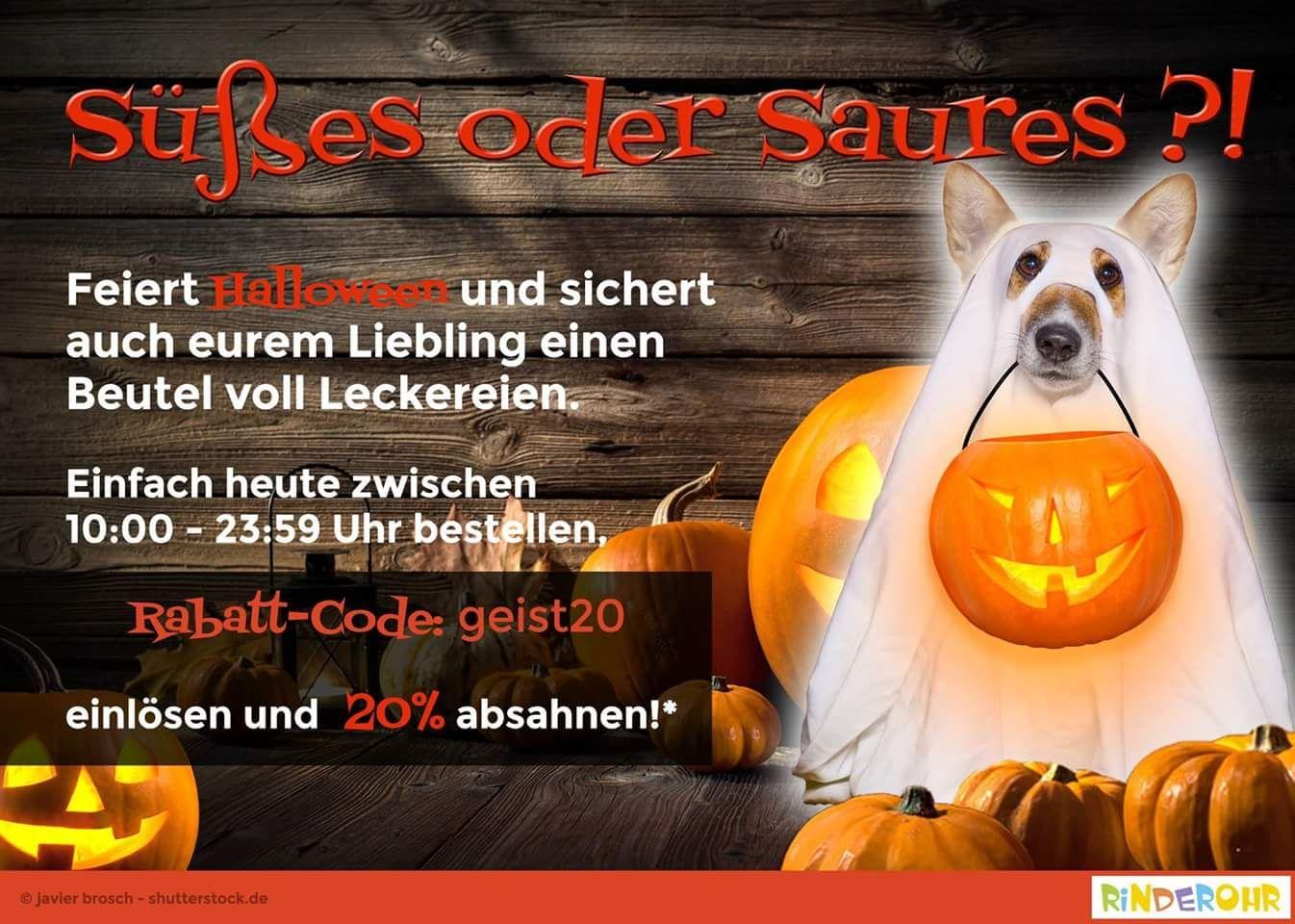 20% auf alles nur am 31.10.17 bis 23:59 auf www.rinderohr.de