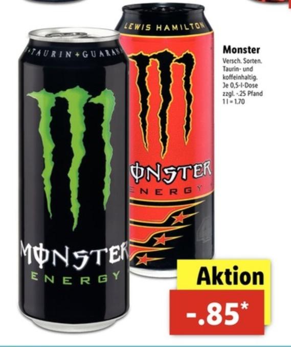 [Lidl] Monster Energy,0.5l Dose in verschiedenen Sorten für 0.85€ zzgl.Pfand