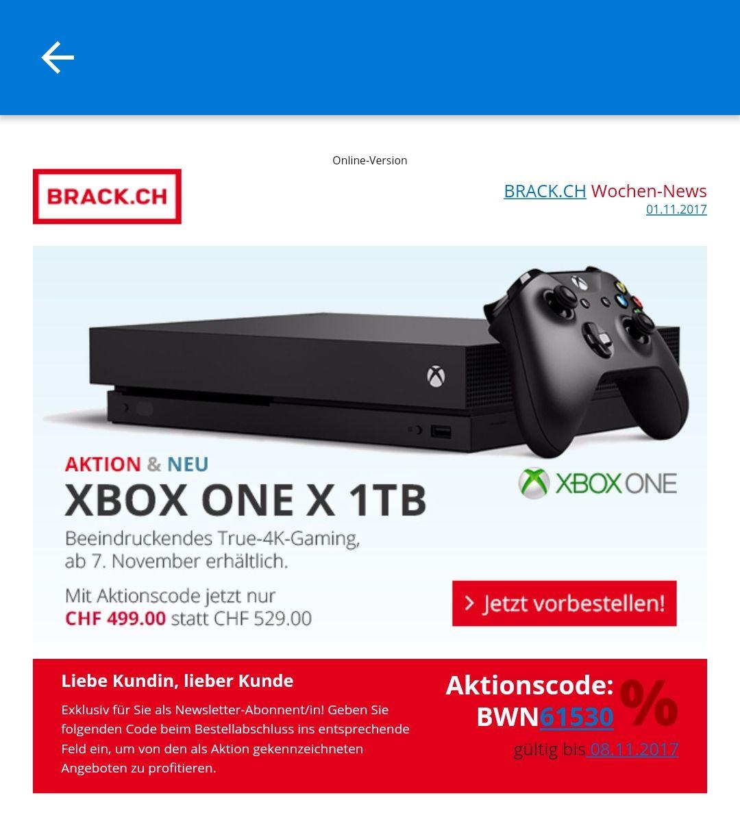 Xbox one x 1TB in den Schweiz vorbestellen