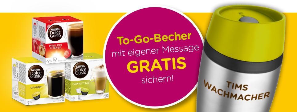 8x Dolce Gusto Packungen kaufen und 1 Coffee to go Becher (Metall)  mit eigener Beschriftung gratis