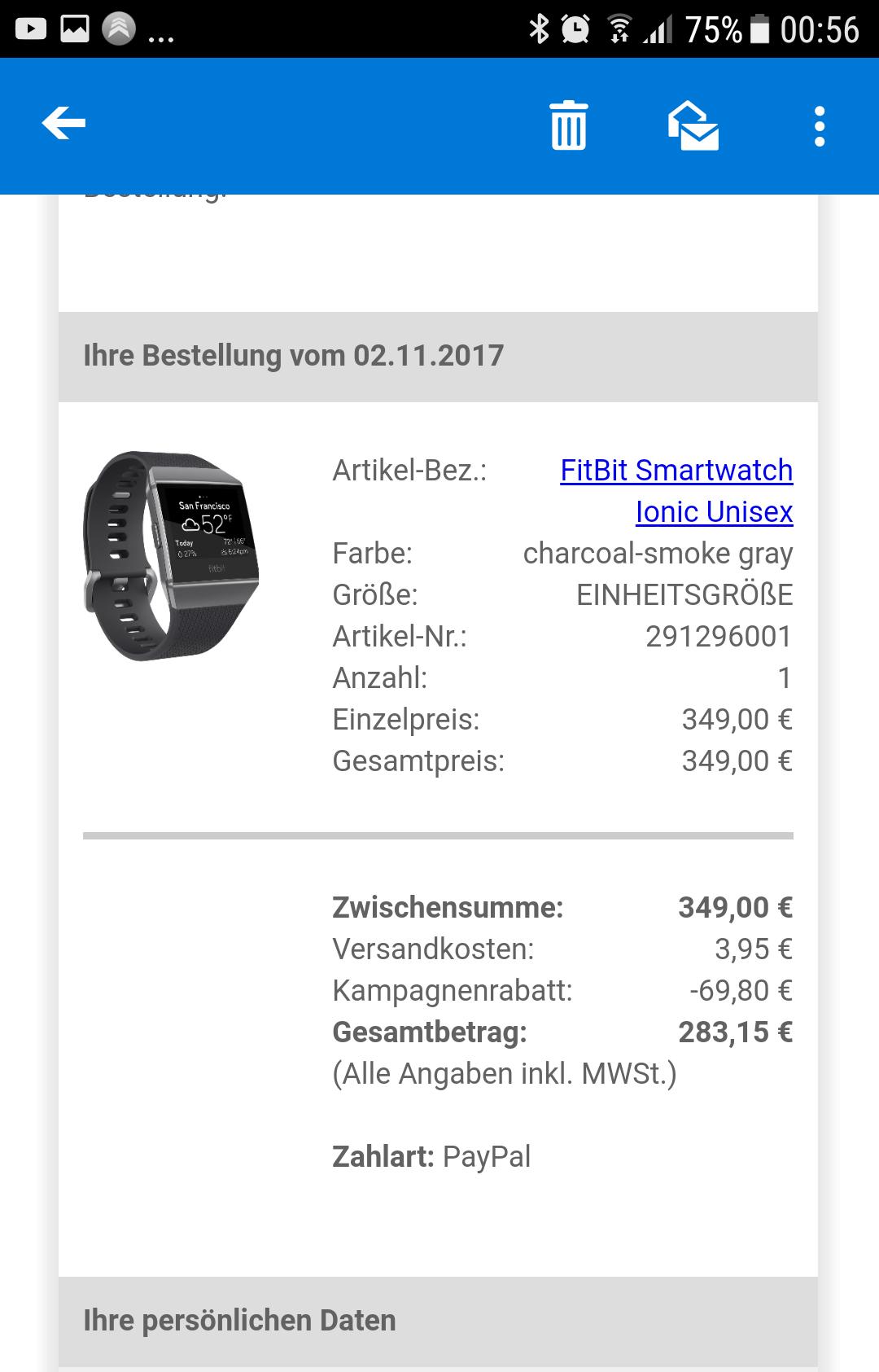 Fitbit Ionic mit 20% Rabatt (283,15)