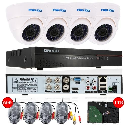 OWSOO 4 Kamera Überwachungssystem mit 1TB Festplatte mit DVR für ~70€