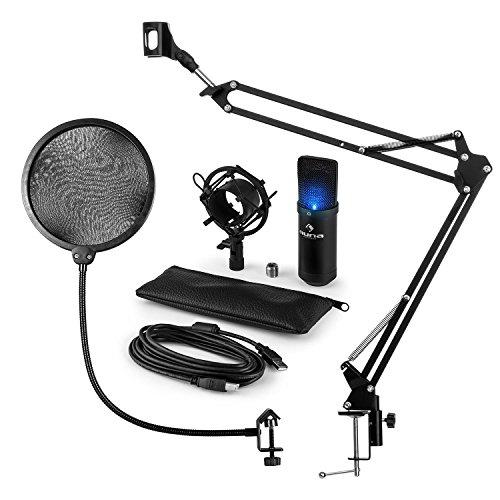 auna USB Kondesatormikrofonset mit Mikrofonarm, Popschutz und Spinne