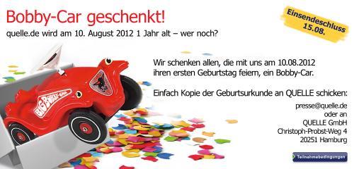 BIG™ Bobby-Car KOSTENLOS für alle 1-jährigen Geburtstagskinder am 10.08.2012 [@Quelle.de]