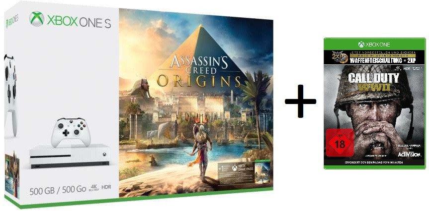 Xbox One S (500GB) Assassin's Creed Origins Bundle + Call of Duty: WWII (Xbox One) + 1 Monat Xbox Game Pass für 206€ (MS Store Schweiz)
