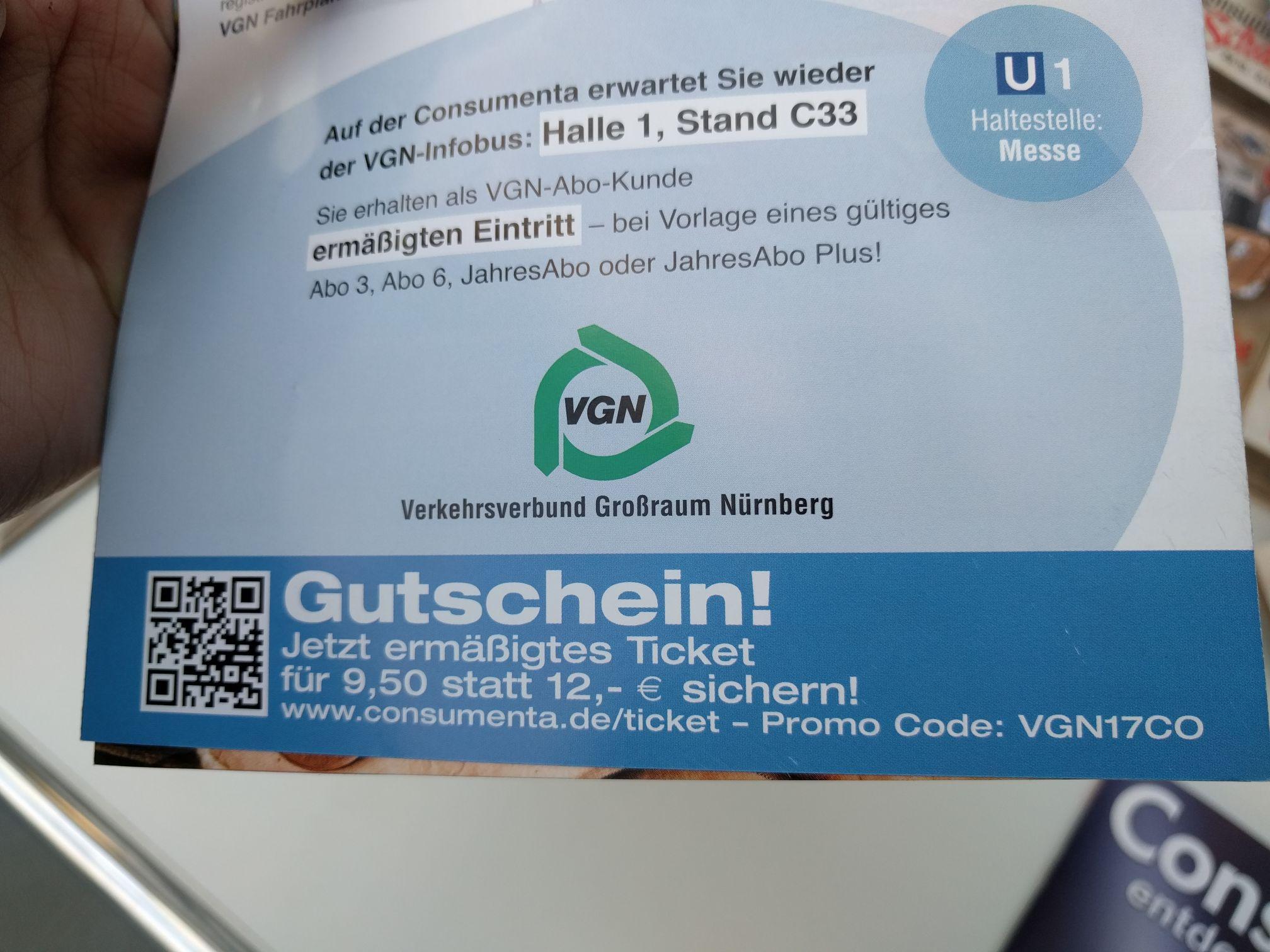 (Lokal Nürnberg) Consumenta Eintritt für 9,50€ statt 12€/10,50€
