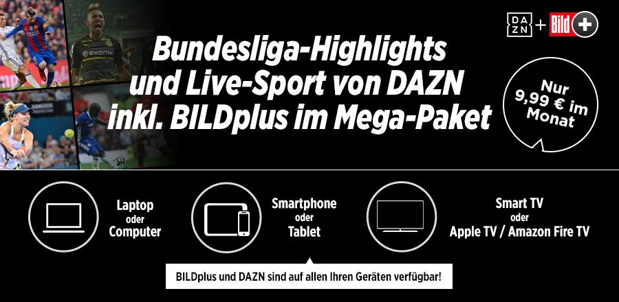 DAZN inkl. BILDplus für 9,99 € / Monat --> d. h. BILDplus ohne zusätzliche Kosten dazu bekommen!