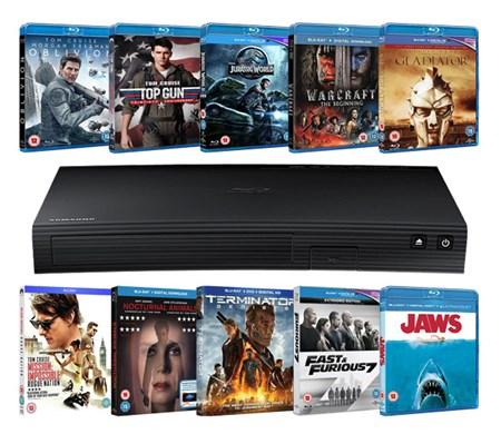Samsung BD-J5500 3D Blu-ray Player + 10 Blu-rays für 80€ (Zoom.co.uk)