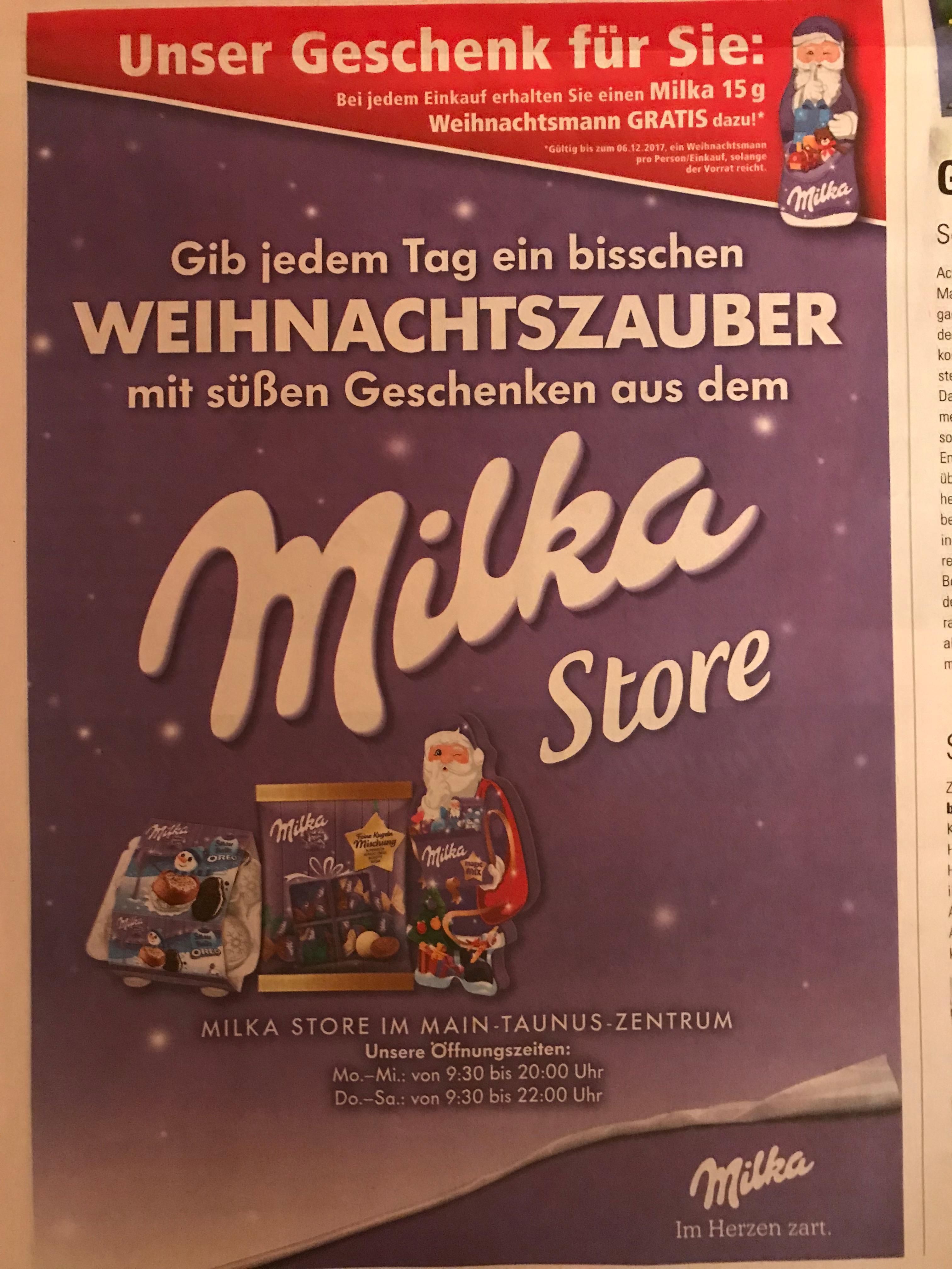 (lokal) Gratis Milka-Weihnachtsmann im MTZ / Sulzbach