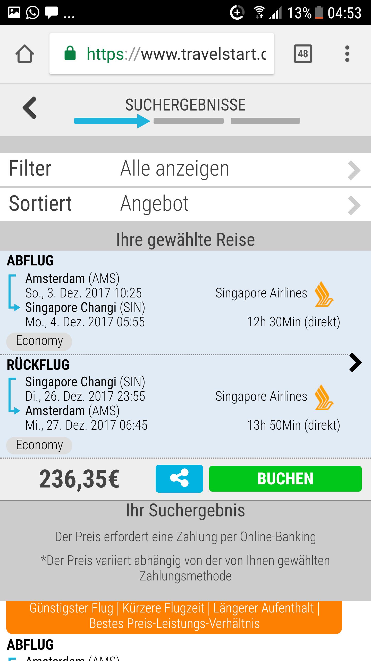 Error Fare: Flüge von Amsterdam nach Singapur und zurück für nur 236€