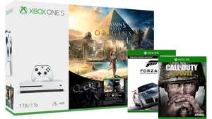 Xbox One S (1TB) Assassin's Creed Origins Bundle + Tom Clancy's Rainbow Six Siege + Call of Duty: WWII (Xbox One) + Forza Motorsport 7 +  2. Controller für 284€ (MS Store Irland)