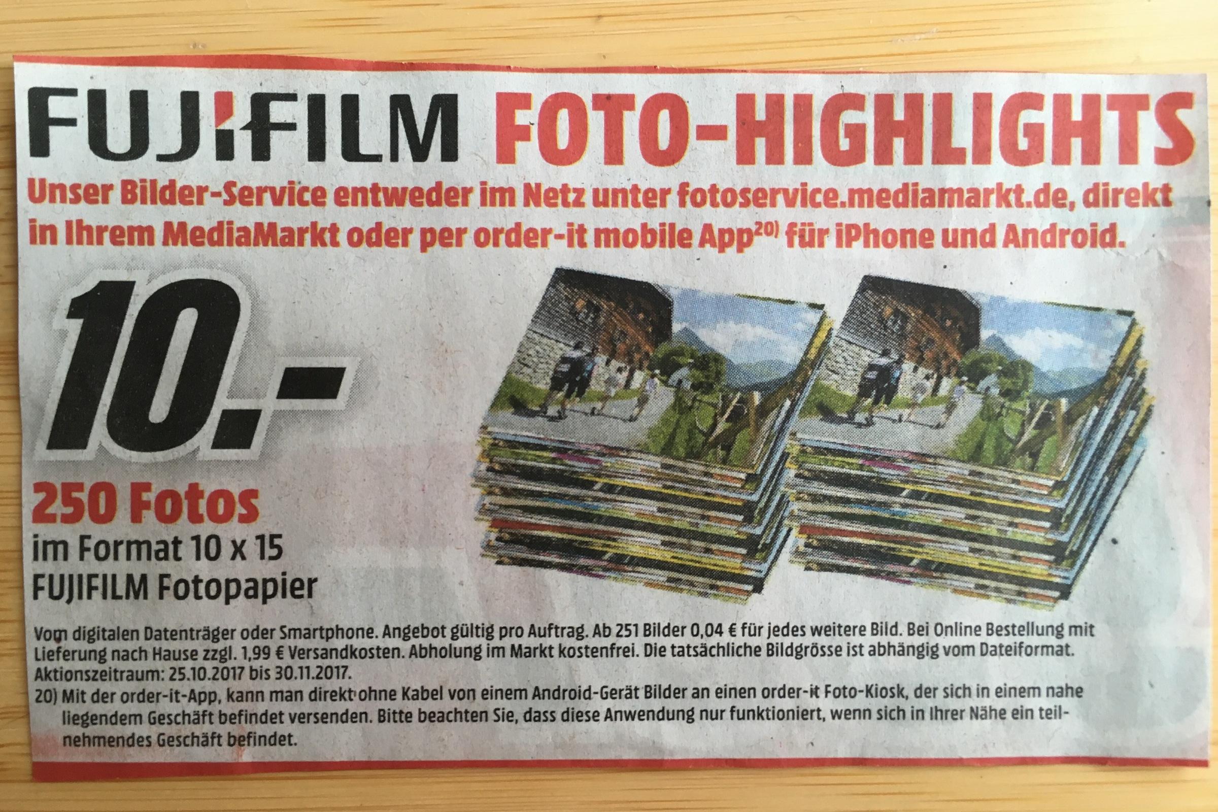 [Fujifilm][Media Markt] 250 Fotos / Abzüge im 10er Format für 10 Euro