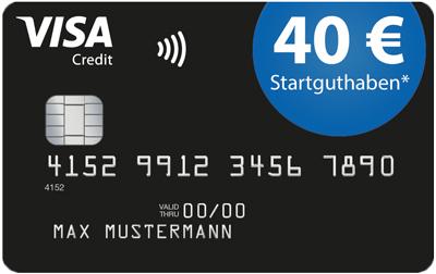 Deutschland-Kreditkarte (VISA) mit 40€ Startguthaben, 0€ Grundgebühren