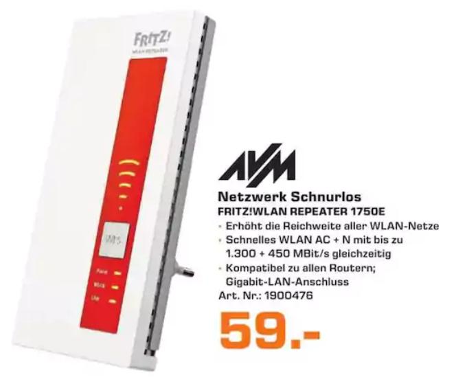 [Saturn Mülheim] AVM FRITZ!WLAN Repeater 1750E für 59€