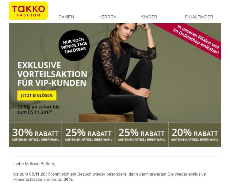 Bis zu 30% bei Takko Online und im Store