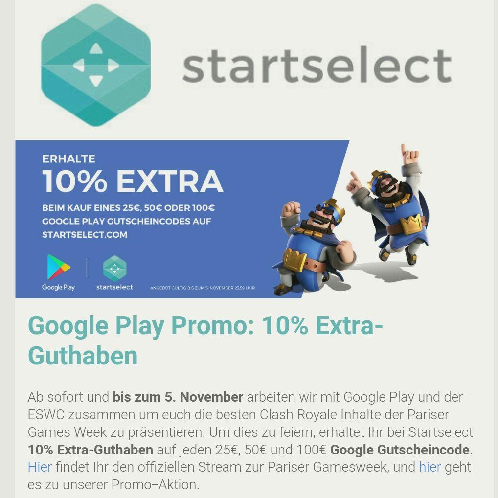 10% extra bei 25€, 50€ & 100€ auf Google Play Guthaben bei Startselect