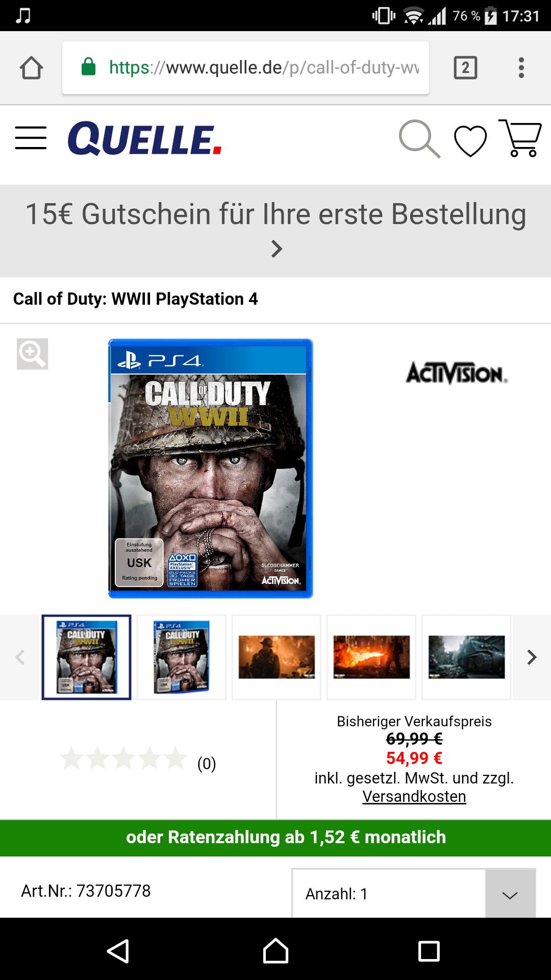 Call of Duty: WWII für 40,94 mit Neukunden Gutschein