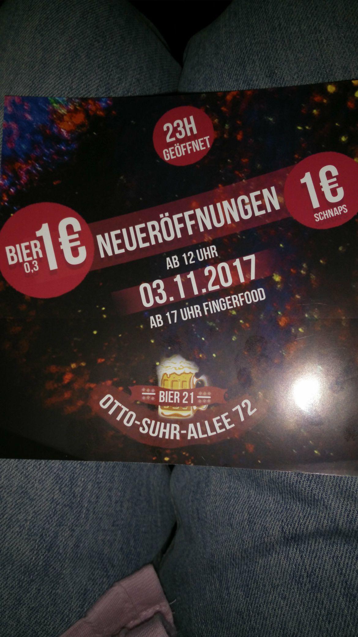 Bier 1€, Schnaps 1&, Fingerfood free