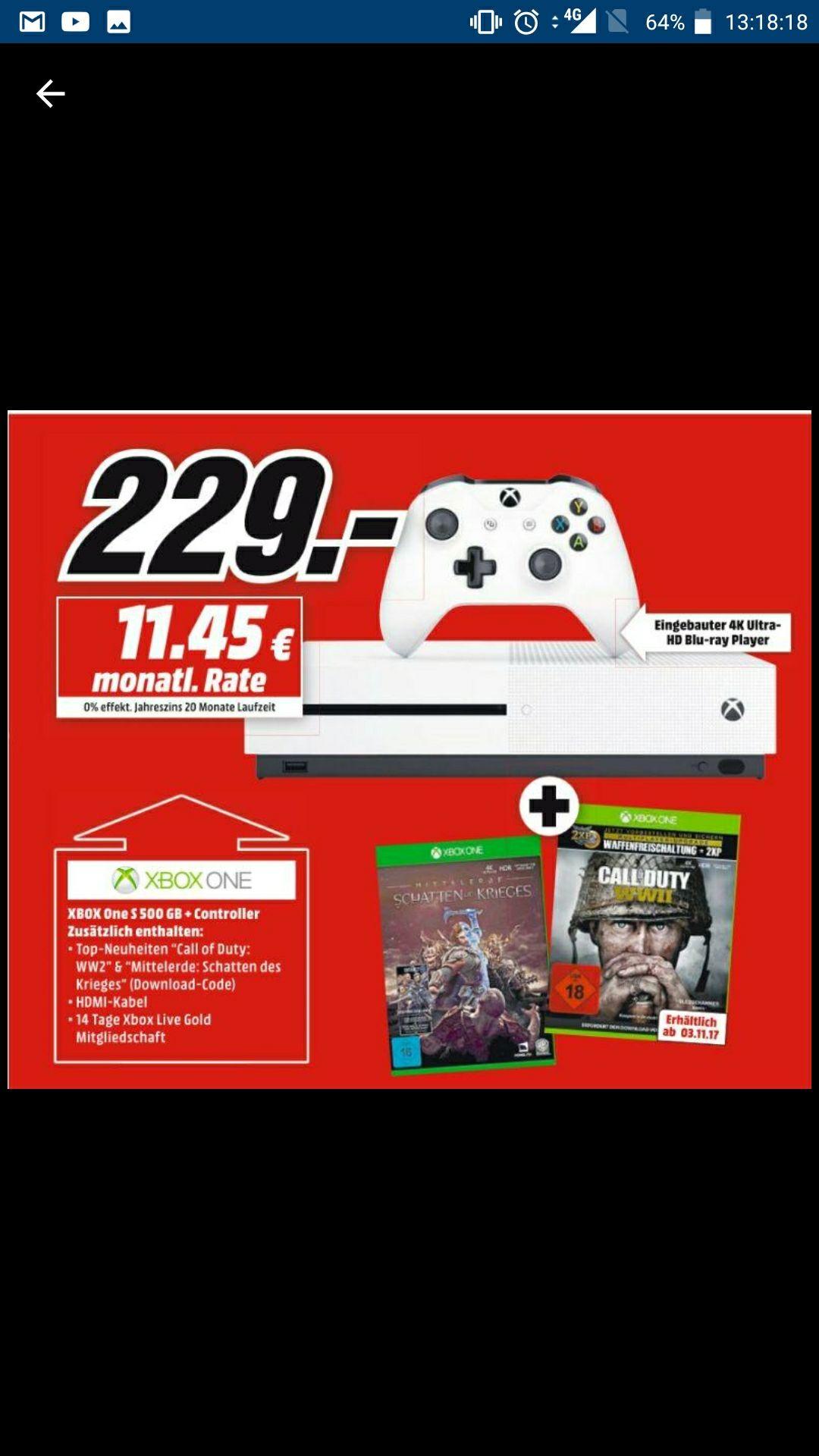 [MediaMarkt Kirchheim] Xbox One s + FIFA 18 + CoD WW2 + Mittelerde: Schatten des Krieges