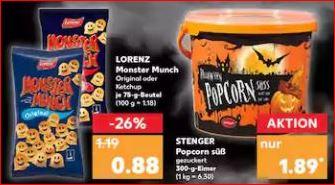 50% auf Halloween-Artikel, z.B. 300g Popcorn Eimer für 94 Cent [Kaufland]
