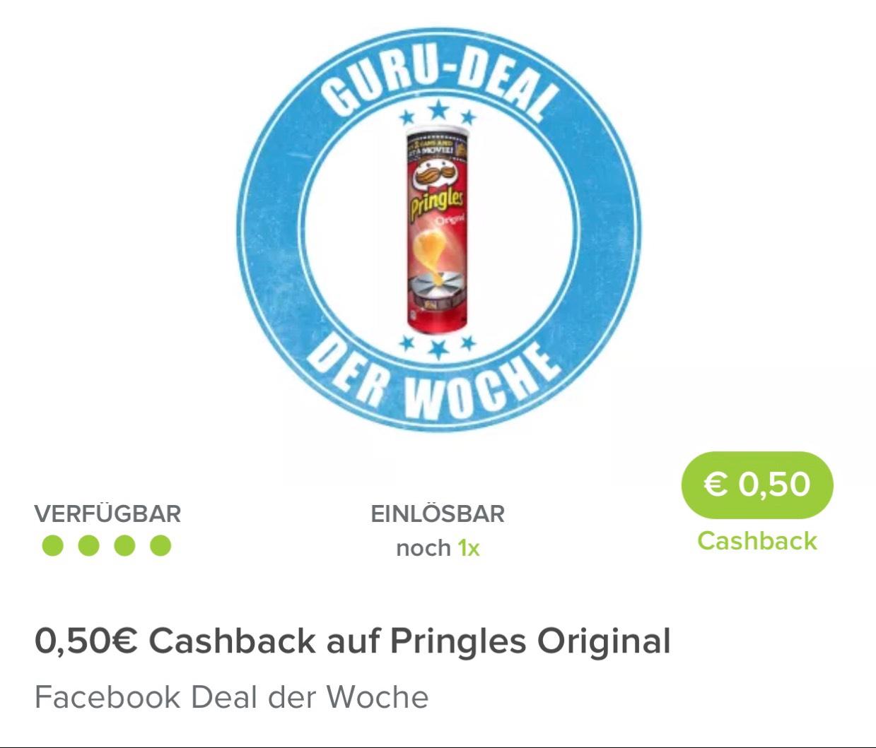 Markt Guru App - Guru der Woche 50 Cent Cashback auf einen Kauf von Pringles (rabattiert 0,89 Cent)
