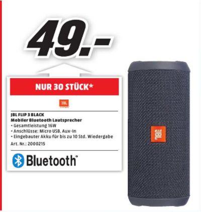 [Lokal Mediamarkt Neunkirchen.Nur am Sonntag] JBL FLIP 3 Bluetooth Lautsprecher Schwarz für 49,-€ **Begrenzt auf 30 Stück**