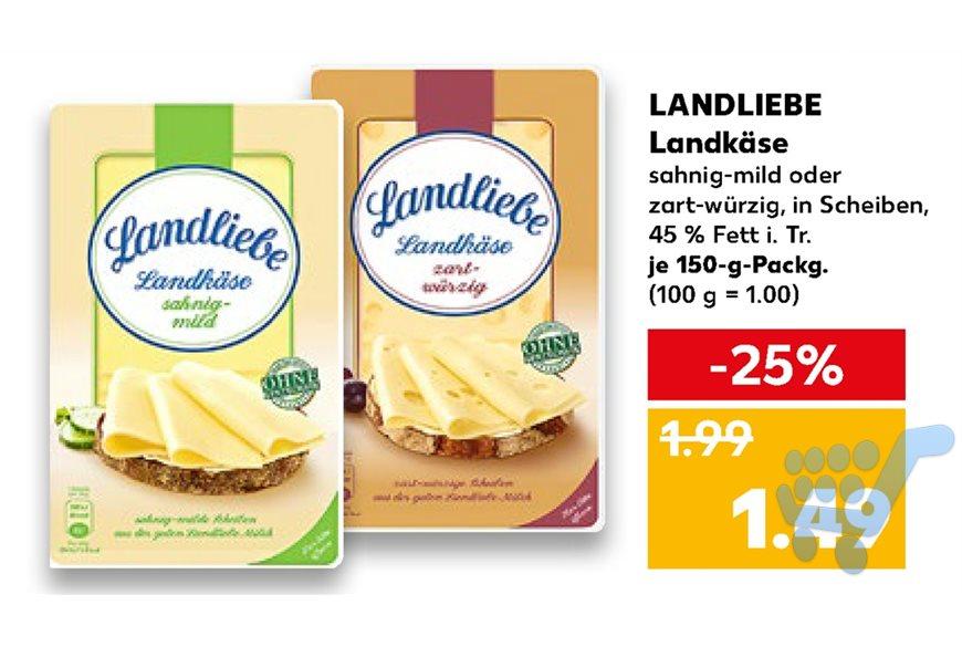 [Kaufland/Real] Landliebe Landkäse 150g für 1,49€/1,59€ mit 0,40€ Coupon nur noch 1,09€/1,19€