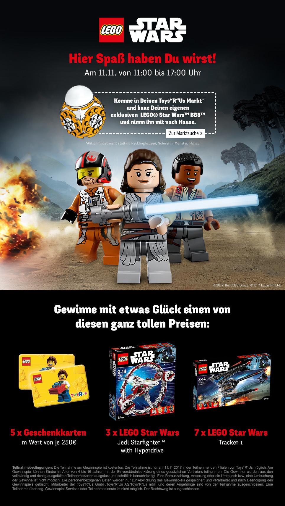[ToysRUs] Gratis LEGO Star Wars BB8 zum Zusammenbauen und Mitnehmen am 11.11.2017 von 11 Uhr bis 17 Uhr